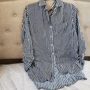 New black & white stripe blouse size 1x
